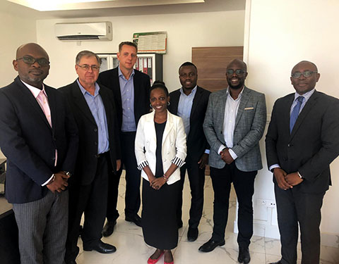 Shay Reaches and Rob Bygrave with the team at Klapton Management Africa